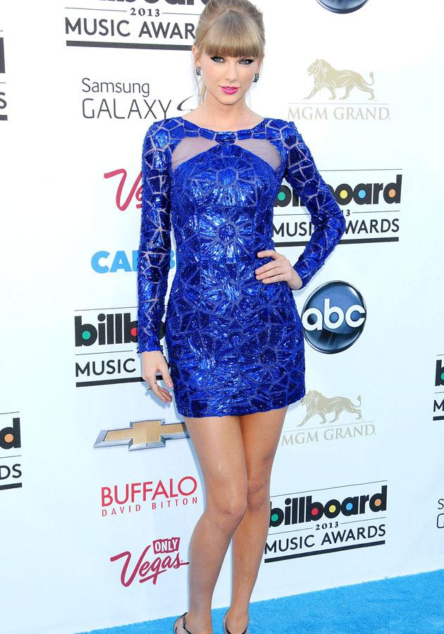 Best dressed: Taylor Swift looked super stylish in a cobalt blue Zuhair Murad Pre-Fall 2013 frock.
