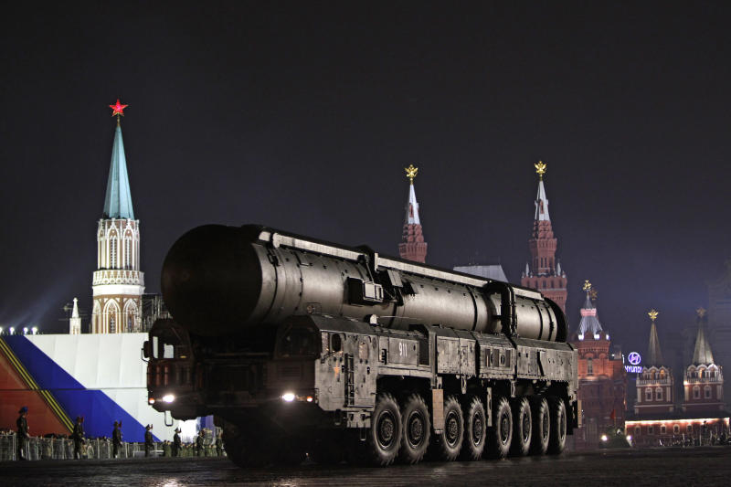 FILE - In this file photo taken on Wednesday, May 4, 2011, Russian army Topol ballistic missile mounted on a mobile launcher takes part in a dress rehearsal for the 2011 Victory Day military parade. Russia has threatened to take military countermeasures if it fails to reach a deal with the United States that would assuage Moscow's concern about the U.S. missile defense plans.  (AP Photo/Sergey Ponomarev)