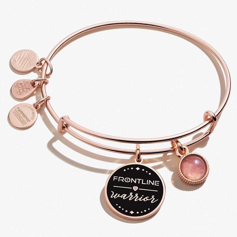 """<p><strong>Alex and Ani</strong></p><p>alexandani.com</p><p><strong>$39.00</strong></p><p><a href=""""https://go.redirectingat.com?id=74968X1596630&url=https%3A%2F%2Fwww.alexandani.com%2Fproducts%2Ffrontline-warrior-duo-charm-bangle-color-infusion&sref=https%3A%2F%2Fwww.harpersbazaar.com%2Ffashion%2Ftrends%2Fg34198704%2Fgift-ideas-that-support-social-justice-organizations%2F"""" rel=""""nofollow noopener"""" target=""""_blank"""" data-ylk=""""slk:Shop Now"""" class=""""link rapid-noclick-resp"""">Shop Now</a></p><p>Show a frontline hero how much they mean to you with this rose gold expandable bangle. Ten percent of net sales will go to the <a href=""""https://1strcf.org/"""" rel=""""nofollow noopener"""" target=""""_blank"""" data-ylk=""""slk:First Responders Children's Foundation"""" class=""""link rapid-noclick-resp"""">First Responders Children's Foundation</a>, which provides grants to first responders financially affected by COVID-19 and sets up scholarships for children who lost a parent on the frontline. </p>"""