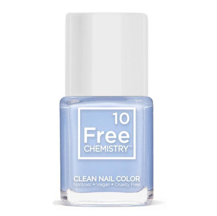 The collection of 10 Free Chemistry Clean Nail Colors wears its efforts to be nontoxic on its sleeve — or its bottles, rather. But the straightforward name doesn't even say it all. These vegan nail polishes are actually 21-free, omitting the usual suspects along with other undesirables like lead and animal-derived ingredients. We especially love the pastel periwinkle shade Smooth Sailing, seen here.