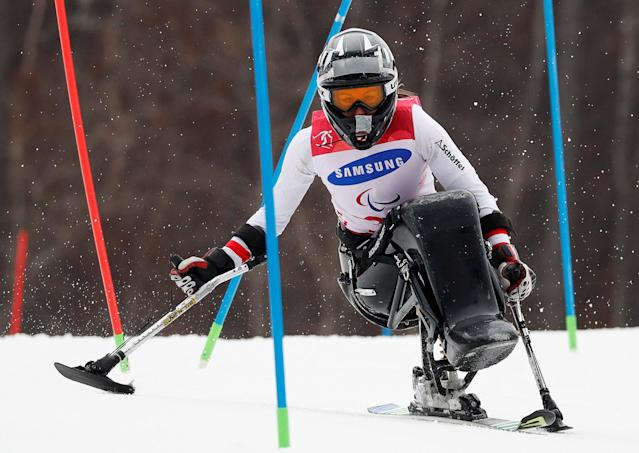 Alpine Skiing - Pyeongchang 2018 Winter Paralympics - Women's Slalom - Sitting - Run 1 - Jeongseon Alpine Centre - Jeongseon, South Korea - March 18, 2018 - Heike Eder of Austria. REUTERS/Paul Hanna