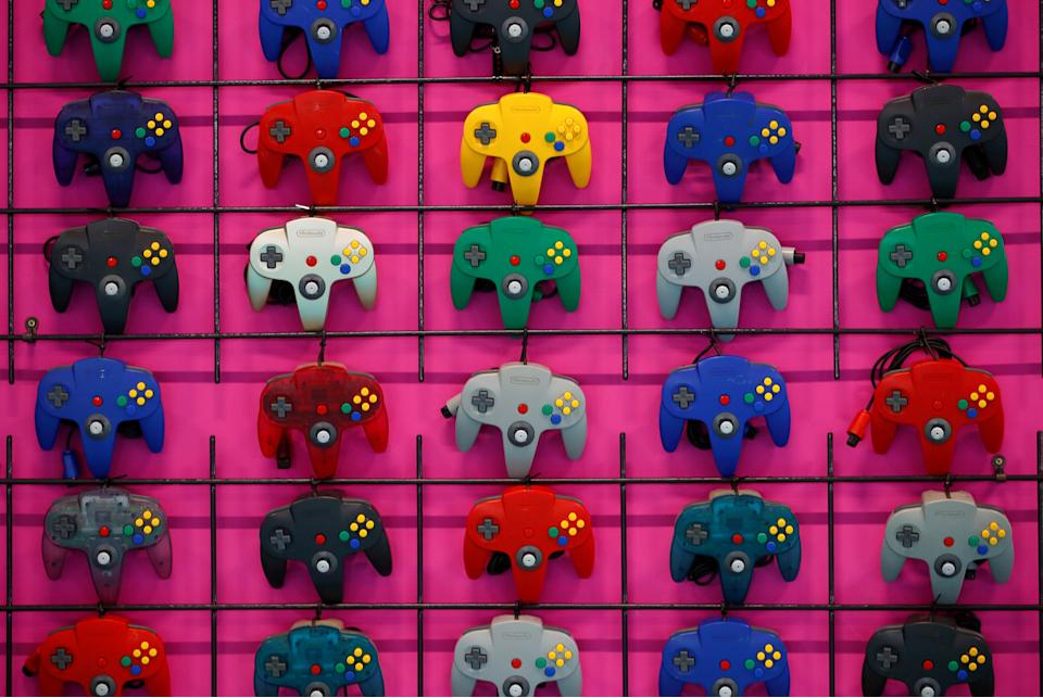Variations of the Nintendo 64 controller are displayed during the media day of Gamescom in Cologne, Germany August 20, 2019. REUTERS/Wolfgang Rattay