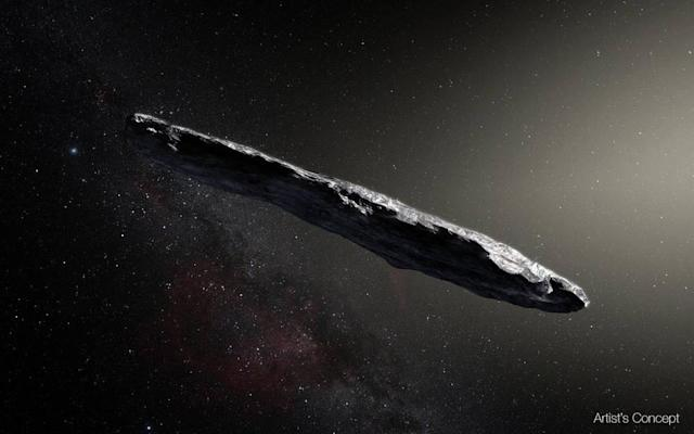 <p>Artist's concept of interstellar asteroid 1I/2017 U1 ('Oumuamua) as it passed through the solar system after its discovery, Oct. 19, 2017. The aspect ratio of up to 10:1 is unlike that of any object seen in our own solar system. (Image: European Southern Observatory/M. Kornmesser) </p>