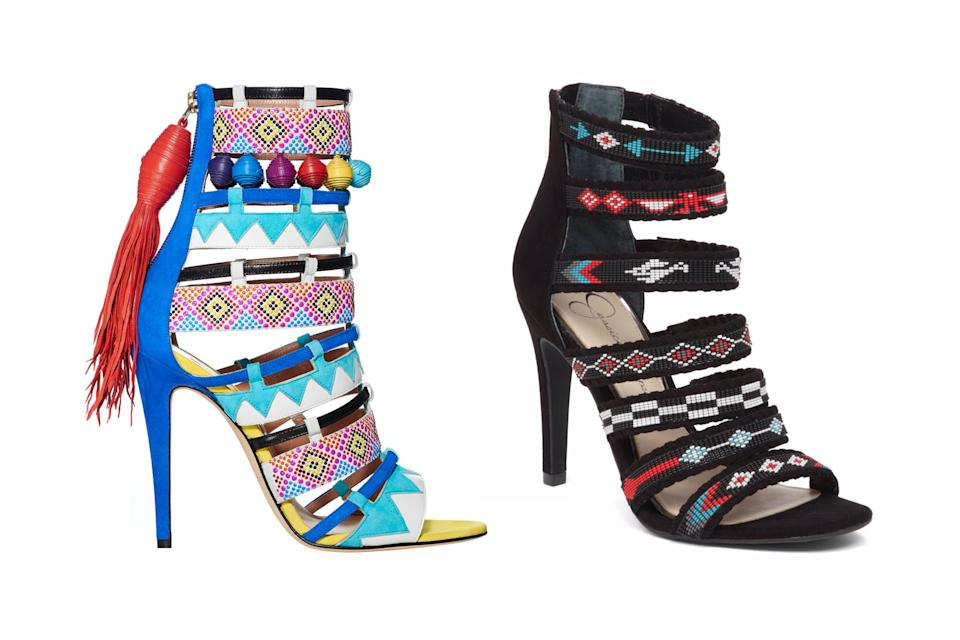 """<p>Brian Atwood for Victoria's Secret """"Nomadic adventure"""" sandals, left, and Jessica Simpson beaded sandals, <a rel=""""nofollow noopener"""" href=""""http://www.lordandtaylor.com/main/ProductDetail.jsp?PRODUCT%3C%3Eprd_id=845524442273787&site_refer=CSE_GGLPRADS001_LT&gclid=EAIaIQobChMI9dKg9LHf1wIVq7ftCh3wpQLyEAkYAiABEgIlZvD_BwE&gclsrc=aw.ds"""" target=""""_blank"""" data-ylk=""""slk:$59.50 Lord & Taylor"""" class=""""link rapid-noclick-resp"""">$59.50 Lord & Taylor</a> (Photo: Victoria's Secret/Lord & Taylor) </p>"""