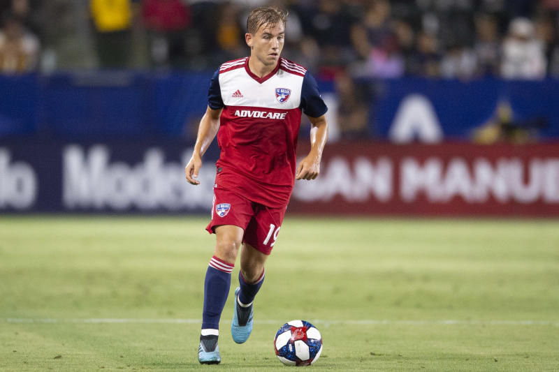 Aug 14, 2019; Carson, CA, USA; FC Dallas midfielder Paxton Pomykal (19) moves the ball during the first half against the LA Galaxy at Dignity Health Sports Park. Mandatory Credit: Kelvin Kuo-USA TODAY Sports