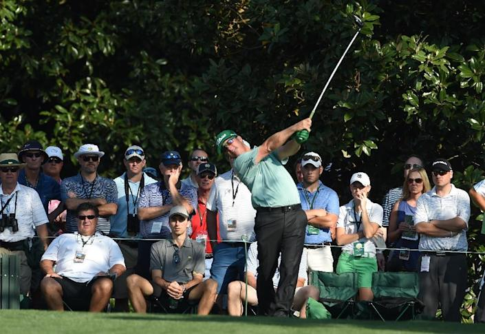 Charley Hoffman of the US tees off at the 9th hole during Round 1 of the 79th Masters Golf Tournament at Augusta National Golf Club on April 9, 2015, in Augusta, Georgia (AFP Photo/Don Emmert)