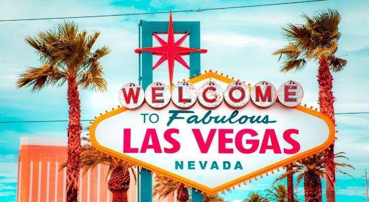 Iconic sign welcoming visitors to Las Vegas
