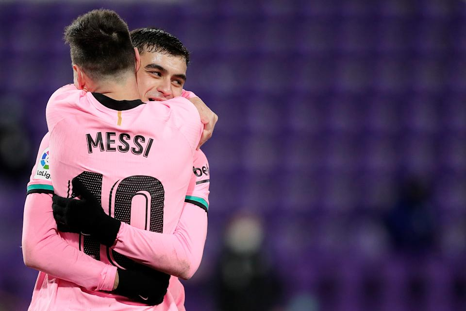 , SPAIN - DECEMBER 22: Lionel Messi of FC Barcelona celebrates 0-3 with Pedri of FC Barcelona  during the La Liga Santander  match between Real Valladolid v FC Barcelona on December 22, 2020 (Photo by David S. Bustamante/Soccrates/Getty Images)