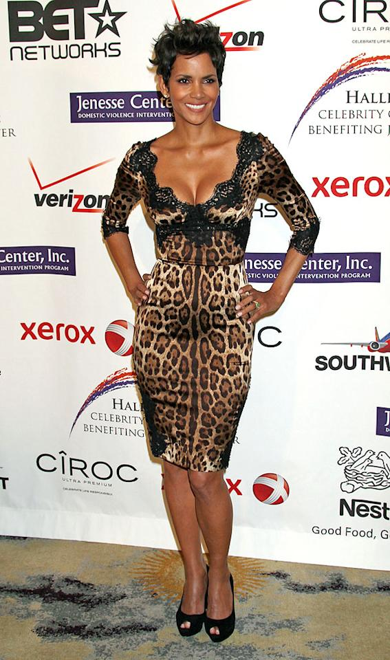 Another fan of D&G? Halle Berry, who rocked a lingerie-inspired, animal-print cocktail frock and black peep-toes to this year's Jenesse benefit in Beverly Hills. The hottie has laid low in recent months, but we're excited to see her back in the spotlight where she belongs! (4/14/2012)