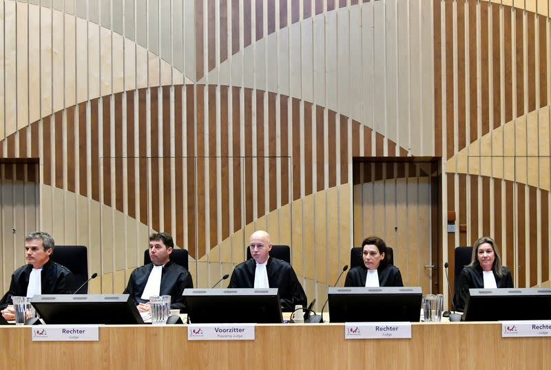 FILE PHOTO: Judges attend the criminal trial against four suspects in the July 2014 downing of Malaysia Airlines flight MH17