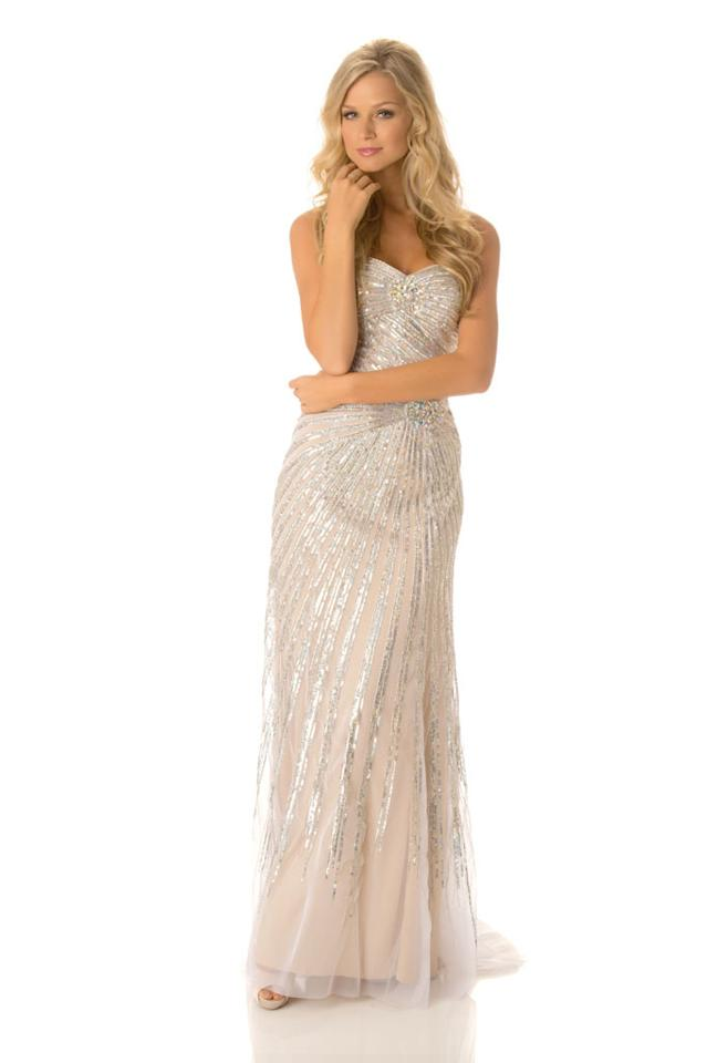 Miss Australia 2012, Renae Ayris, poses in her evening gown at Planet Hollywood Resort and Casino, in Las Vegas, Nevada. She will spend the next few weeks touring, filming, rehearsing, and making new friends while she prepares to compete for the coveted Miss Universe Diamond Nexus Labs Crown.