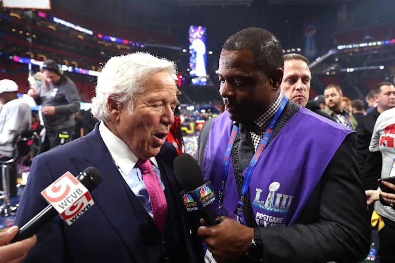 New England Patriots owner Robert Kraft is interviewed after his team's Super Bowl victory over the Los Angeles Rams on February 3, 2019