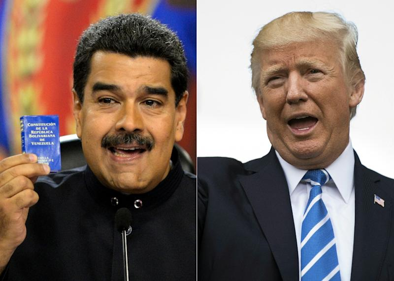 "The White House says US President Donald Trump would only agree to speak with Venezuelan leader Nicolas Maduro ""as soon as democracy is restored in that country"" (AFP Photo/FEDERICO PARRA, JIM WATSON)"