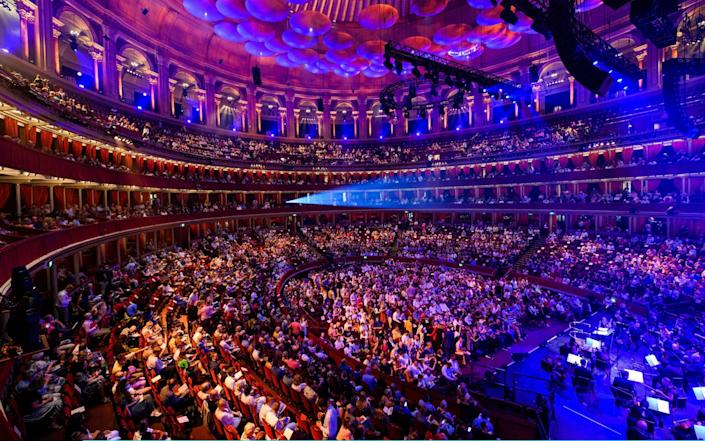 A full crowd fill the seats ahead of the Royal Albert 150th Anniversary Concert at Royal Albert Hall on July 19, 2021 in London - Joe Maher/Getty