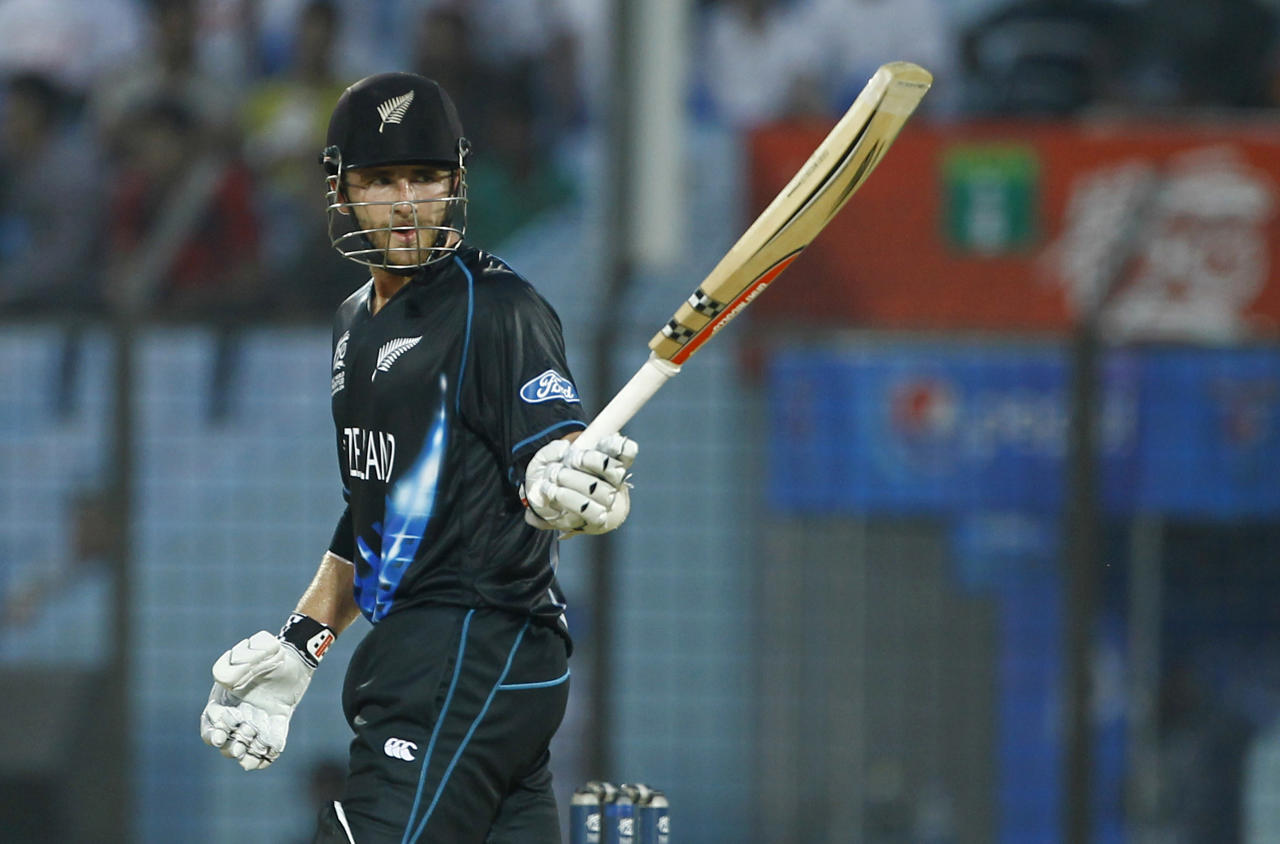 New Zealand's Kane Williamson acknowledges the crowd after scoring a half century during their ICC Twenty20 Cricket World Cup match against South Africa, in Chittagong, Bangladesh, Monday, March 24, 2014. (AP Photo/A.M. Ahad)