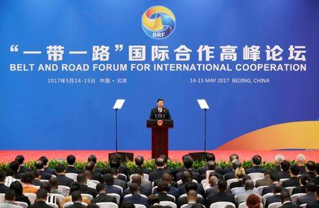 Chinese President Xi Jinping attends a news conference at the end of the Belt and Road Forum in Beijing