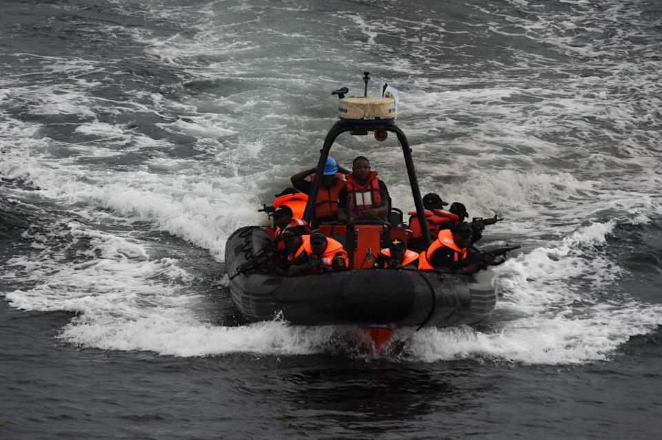 Special forces of the Nigerian navy sails to apprehend pirates in a mock operations during the five-day joint military exercise between Nigeria and French navy codenamed Grand African NEMO (Navy Exercise Maritime Operations) in Nigerian waters on October 30, 2019.