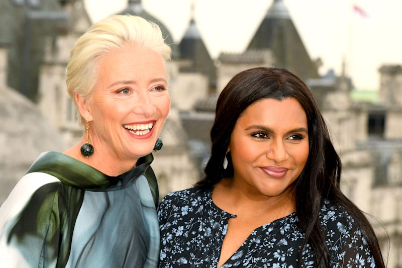 "LONDON, ENGLAND - MAY 17: Emma Thompson and Mindy Kaling during the ""Late Night"" photocall at Corinthia Hotel London on May 17, 2019 in London, England. (Photo by Dave J Hogan/Getty Images)"
