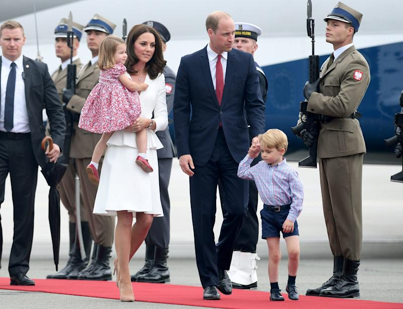 The Cambridge family arrive in Warsaw - Credit: Wireimage