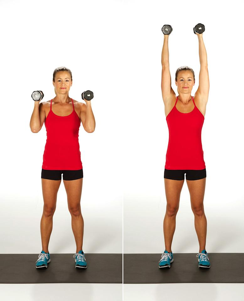 <ul> <li>Hold a dumbbell in each hand just above your shoulders, palms facing in.</li> <li>Straighten your arms above you.</li> <li>Bend your elbows, coming back to the starting position to complete one rep.</li> </ul>