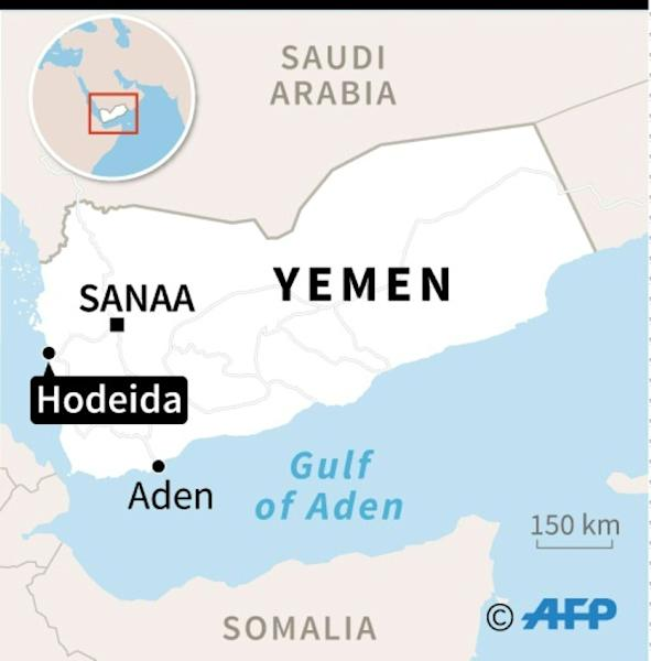 Map of Yemen locating the rebel-held port of Hodeida