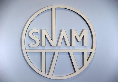 Italian natural gas infrastructure company SNAM logo is seen in the headquater in San Donato Milanese