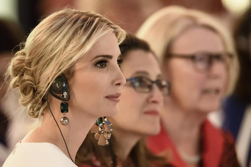 Picture: Ivanka Trump follow the speech of German Chancellor Angela Merkel (not in the picture) at a Gala Dinner at Deutsche Bank within the framework of the W20 summit on April 25, 2017 in Berlin, Germany: Getty Images