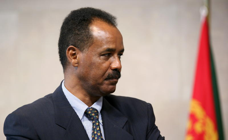 Eritrean President Issaias Afeworki seen at a press point at the end of a meeting on May 4, 2007 at EU headquarters in Brussels (AFP Photo/Gerard Cerles)