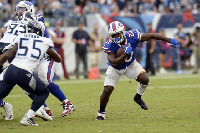 Buffalo Bills running back Frank Gore (20) tries to get past Tennessee Titans inside linebacker Jayon Brown (55) in the second half of an NFL football game Sunday, Oct. 6, 2019, in Nashville, Tenn. The Bills won 14-7. (AP Photo/Mark Zaleski)