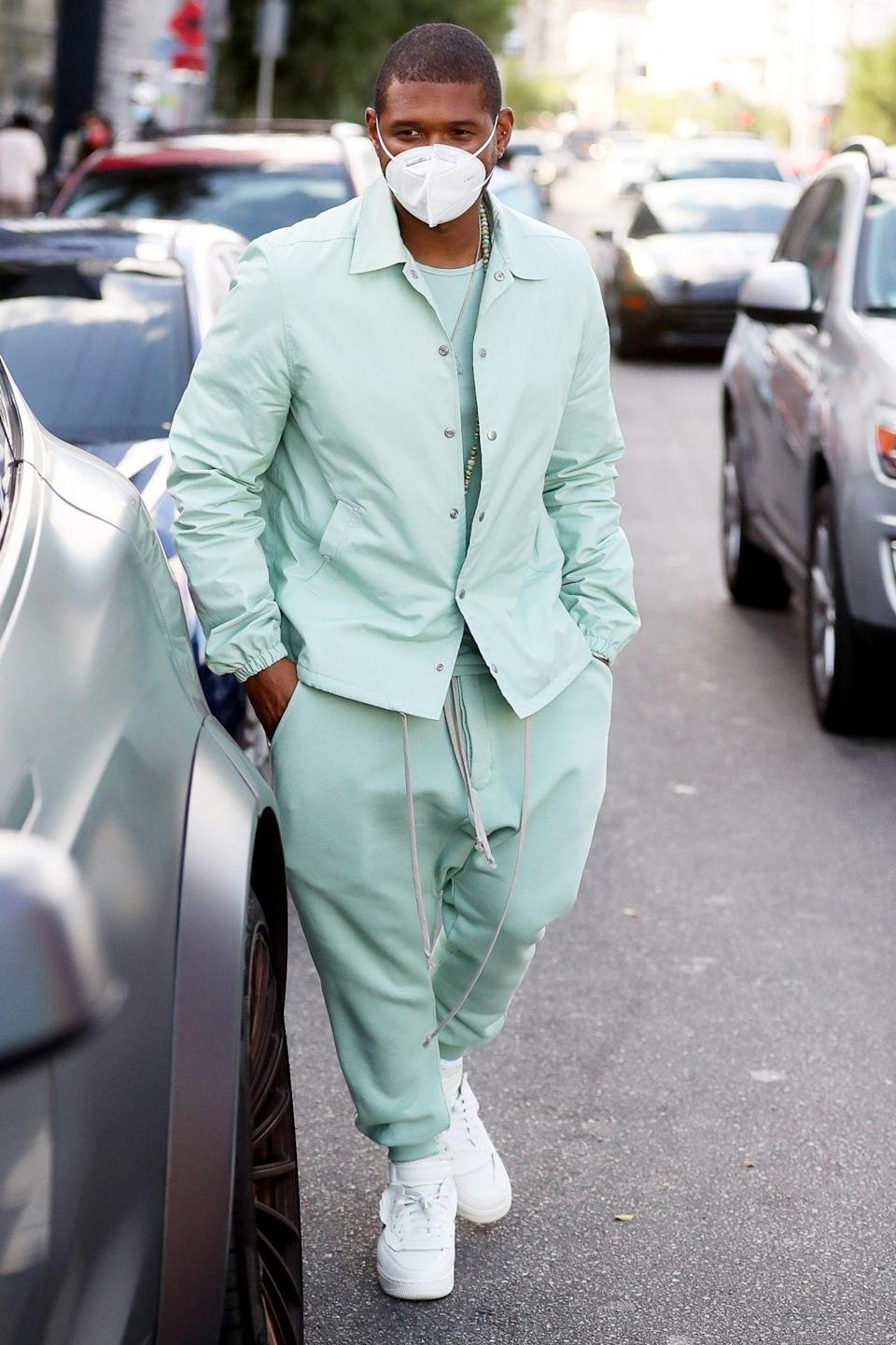 <p>Usher steps out in head-to-toe mint green after meeting a friend for lunch in West Hollywood on Saturday. </p>