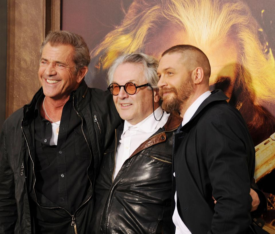 HOLLYWOOD, CA - MAY 07: (L-R) Actor Mel Gibson, director George Miller and actor Tom Hardy arrive at the