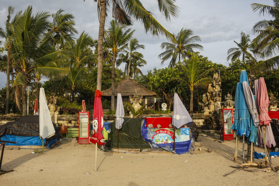 Closed beach bar and surf rent during local restriction amid Covid-19 in Kuta, Bali. Source: Getty