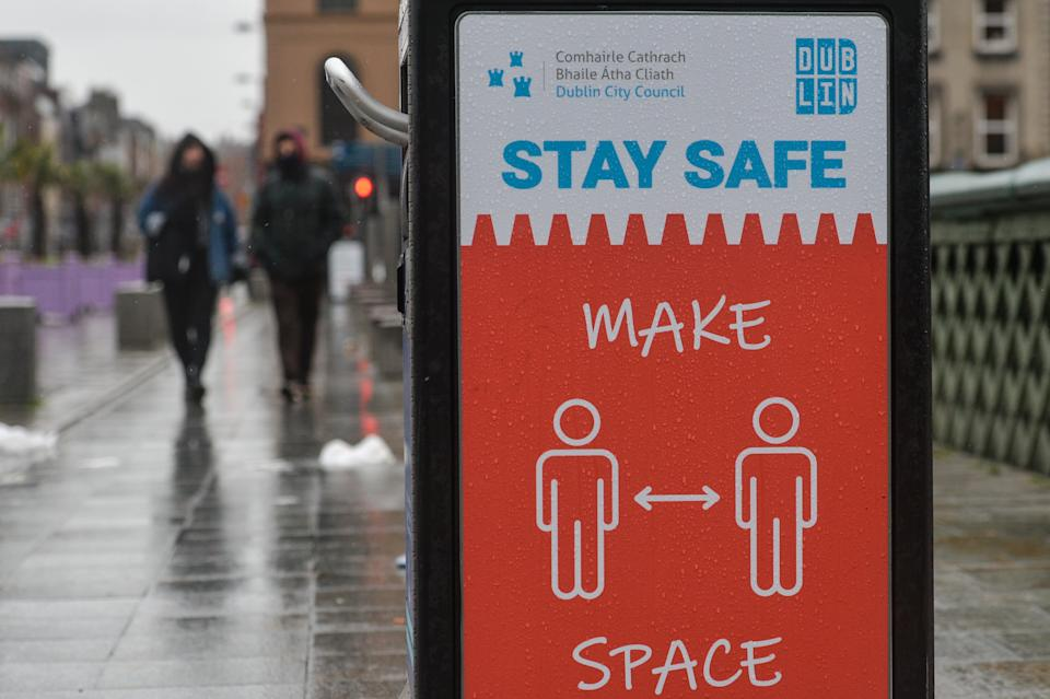 A street poster 'Stay Safe - Make Space' seen in Dublin during Level 5 Covid-19 lockdown.  On Saturday, 30 January, 2021, in Dublin, Ireland. (Photo by Artur Widak/NurPhoto via Getty Images)