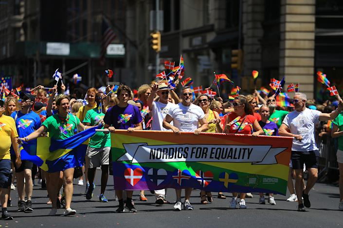 Members of Nordics for Equality march in the N.Y.C. Pride Parade in New York on June 30, 2019. (Photo: Gordon Donovan/Yahoo News)