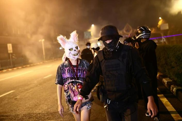 There were brief clashes between police and protesters in Bangkok (AFP/Jack TAYLOR)