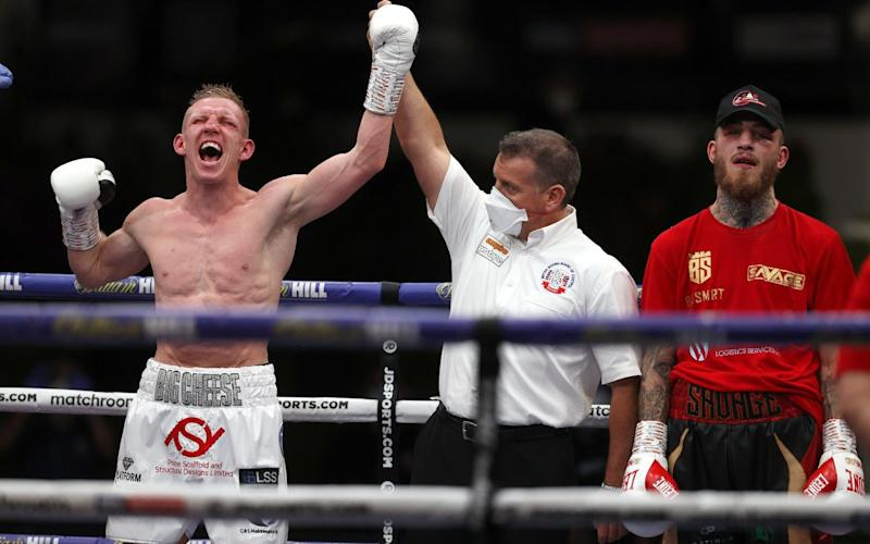 Ted Cheeseman celebrates his victory. - MATCHROOM BOXING