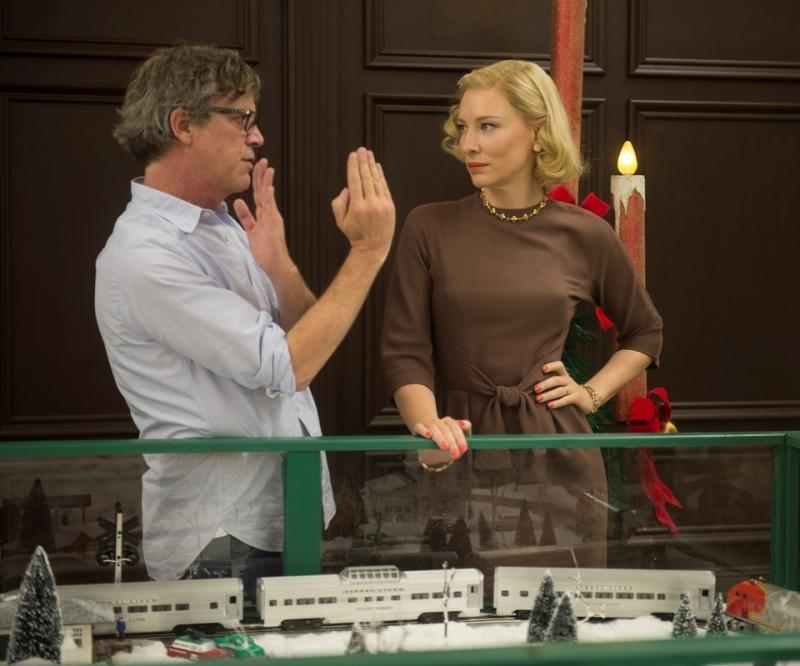 "Todd Haynes directs Cate Blanchett in a scene from ""Carol."""