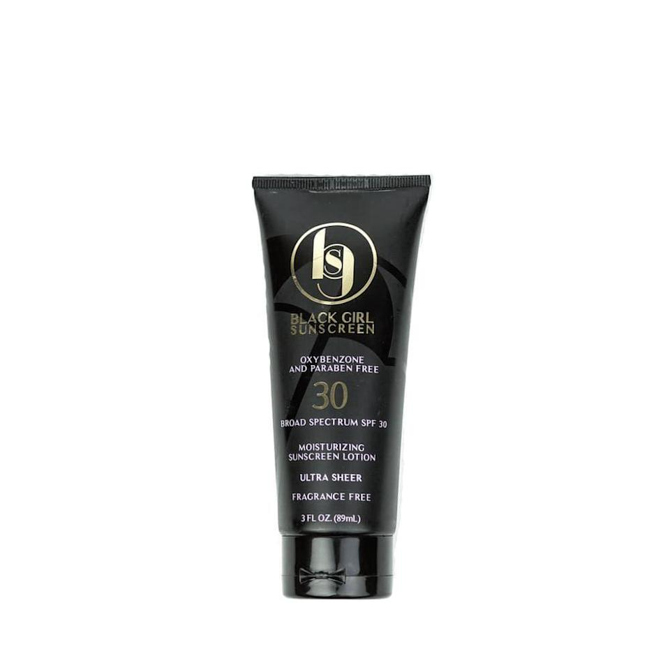 """<p><strong>Black Girl Sunscreen</strong></p><p>target.com</p><p><strong>$15.99</strong></p><p><a href=""""https://www.target.com/p/black-girl-sunscreen-broad-spectrum-spf-30-3-fl-oz/-/A-76157877"""" rel=""""nofollow noopener"""" target=""""_blank"""" data-ylk=""""slk:Shop Now"""" class=""""link rapid-noclick-resp"""">Shop Now</a></p><p>Henry recommends Black Girl Sunscreen, which is a cult hit amongst shoppers who've looked high and low for SPF that genuinely disappears once it's applied to deep skin tones. The vegan, cruelty-free, and fragrance-free formula makes it even more inclusive. </p>"""