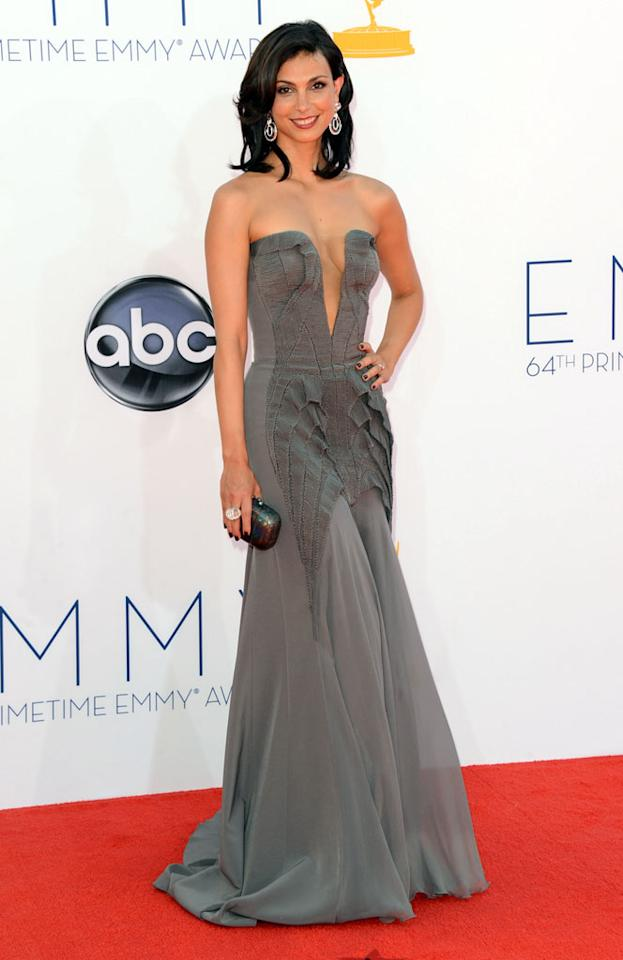Morena Baccarin arrives at the 64th Primetime Emmy Awards at the Nokia Theatre in Los Angeles on September 23, 2012.