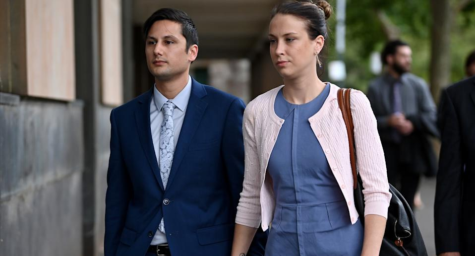 Blake Davis and Hannah Quinn leaving the NSW Supreme Court in Sydney on Friday. Source: AAP