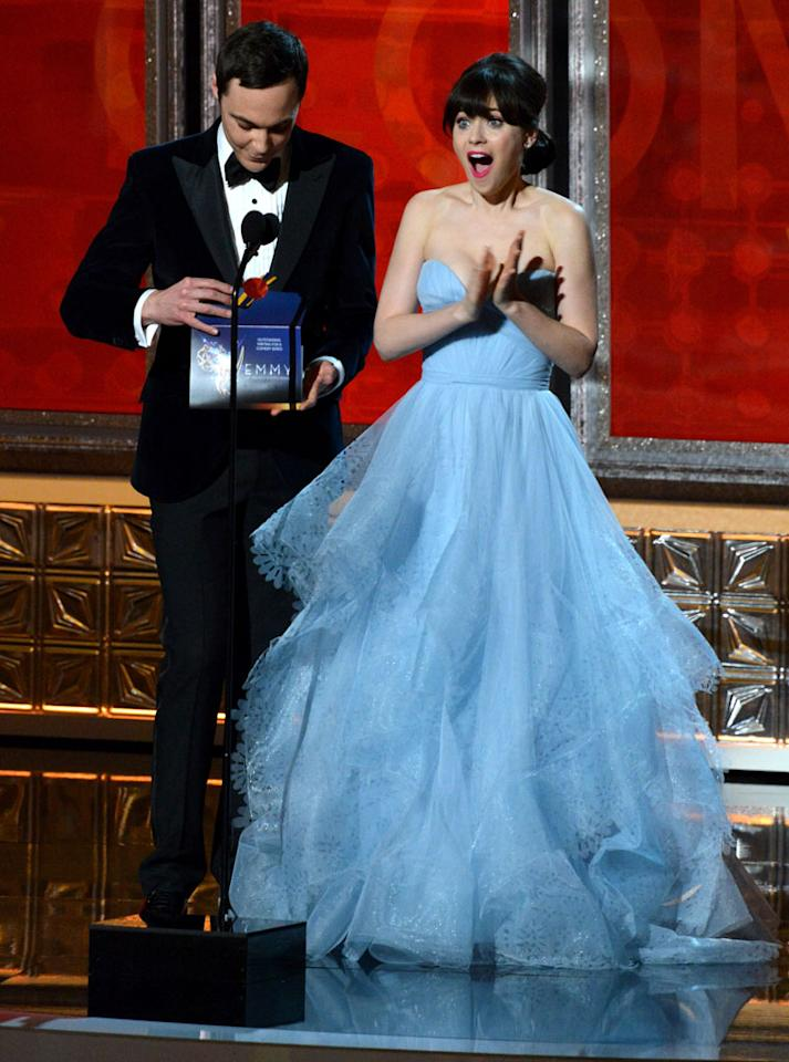 Jim Parsons and Zooey Deschanel onstage at the 64th Primetime Emmy Awards at the Nokia Theatre in Los Angeles on September 23, 2012.