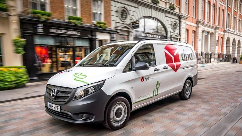 A white DPD delivery van on a London street.