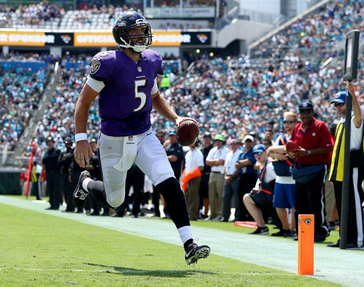 Joe Flacco makes a rare house call. (Photo by Maddie Meyer/Getty Images)