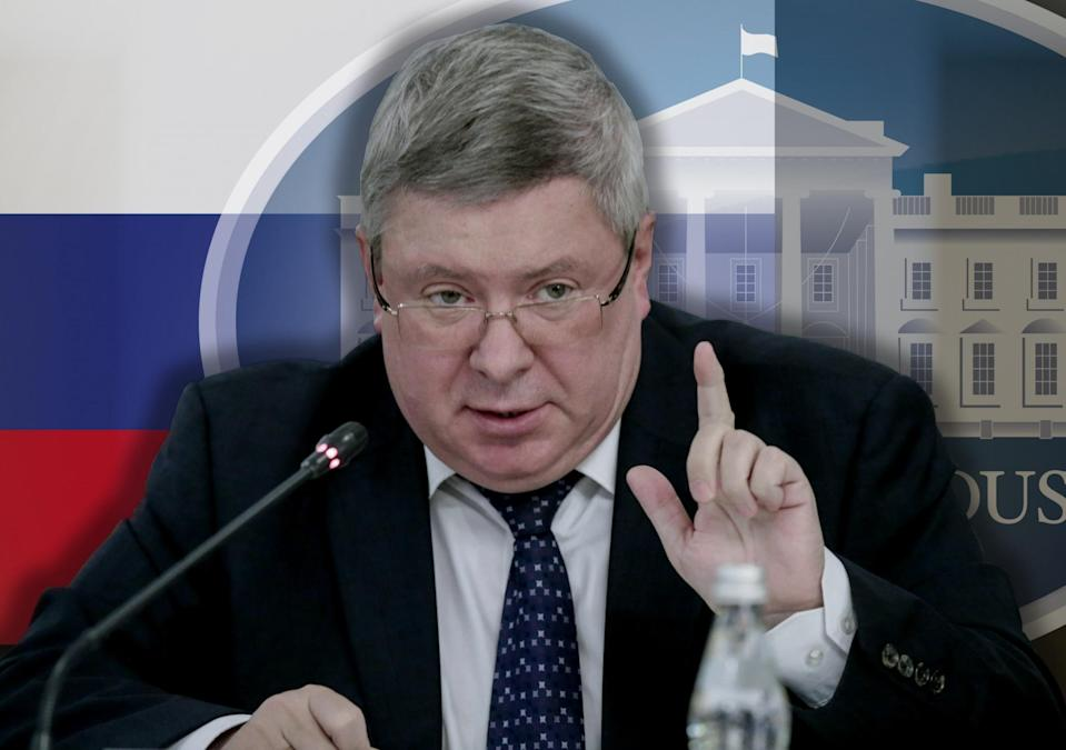 Alexander Torshin, a close ally of Russian President Putin and deputy governor of the Bank of Russia. (Photo illustration: Yahoo News; photos: Alexander Shalgin/TASS via Getty Images, AP[2])