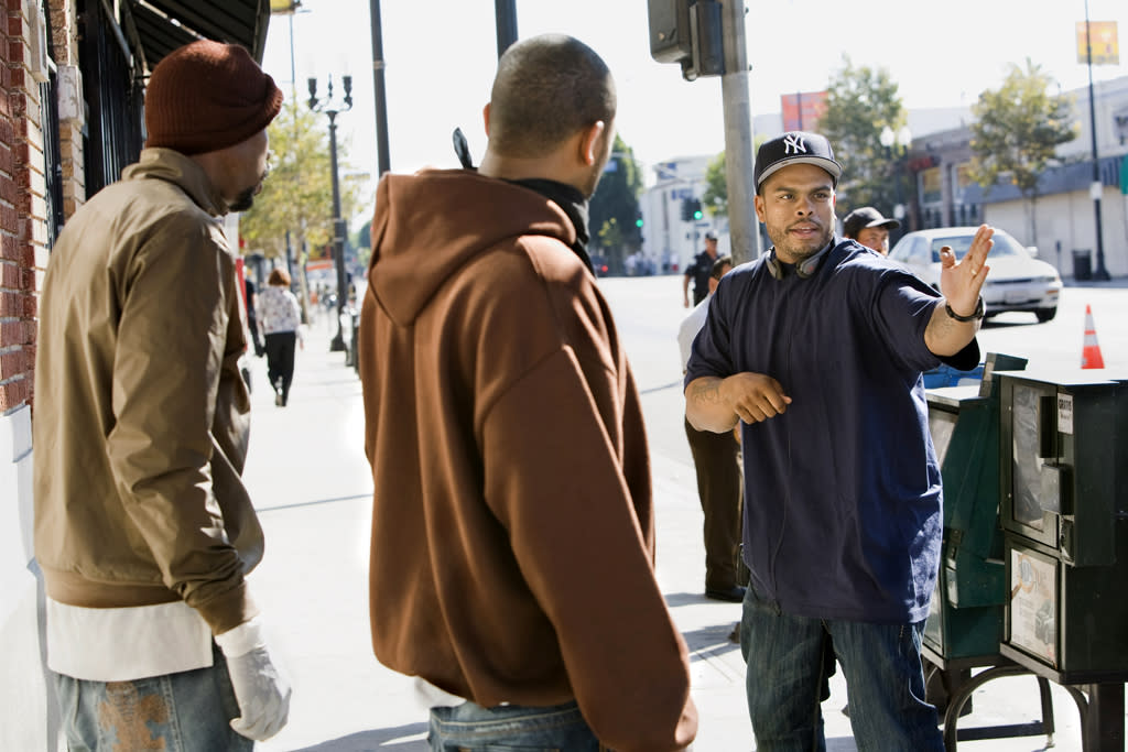 """<a href=""""http://movies.yahoo.com/movie/contributor/1803242656"""">Wood Harris</a>, <a href=""""http://movies.yahoo.com/movie/contributor/1800353629"""">Mike Epps</a> and director <a href=""""http://movies.yahoo.com/movie/contributor/1809015940"""">Benny Boom</a> on the set of Summit Entertainment's <a href=""""http://movies.yahoo.com/movie/1809928850/info"""">Next Day Air</a> - 2009"""