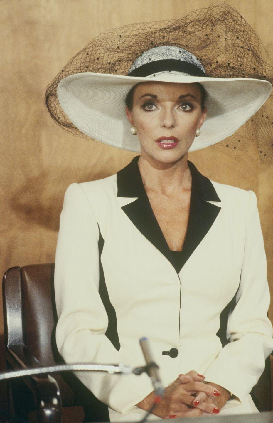 <p>Airing its first season in the fall of 1981, <em>Dynasty </em>star Joan Collins became an unintentional fashion icon. Her character, Alexis Carrington, helped inspire higher shoulder pads, bolder accessories, and more glamour in the average viewer's wardrobe.</p>