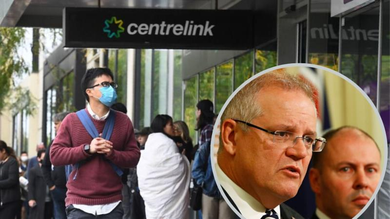 A long queue at Centrelink with Scott Morrison and Josh Frydenberg in inset.