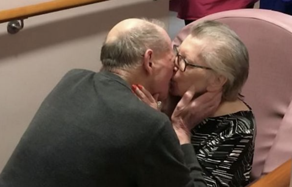 The couple have now moved into the same care home. (SWNS)