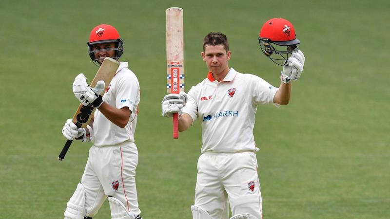 Henry Hunt (R) and Jack Weatherald (L) have hit tons for SA on day one of the Tasmania Shield clash