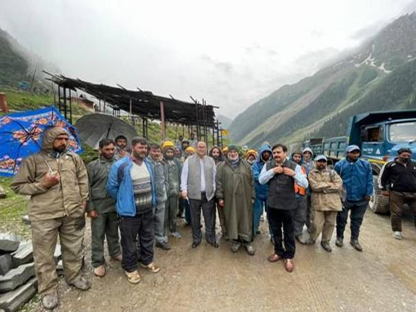 Chief Labour Commissioner DPS Negi during his visit to Zojila Pass and Kargil.